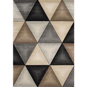 Tapis Freemont de Kalora, triangles, 7, 8 pi x 10, 5 pi, beige