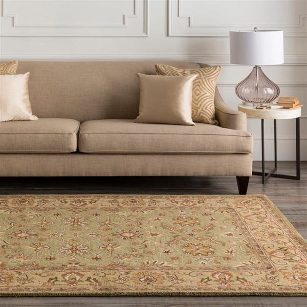Surya Crowne Traditional Area Rug - 6-ft x 9-ft - Rectangular - Olive