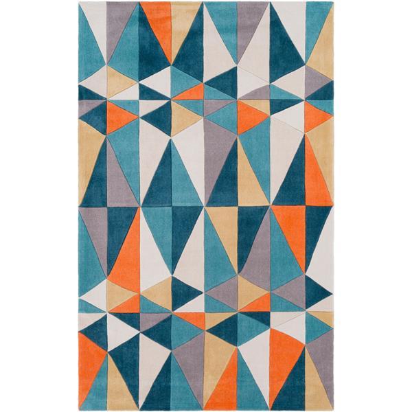 Surya Cosmopolitan Modern Area Rug - 5-ft x 8-ft - Rectangular - Teal/Orange