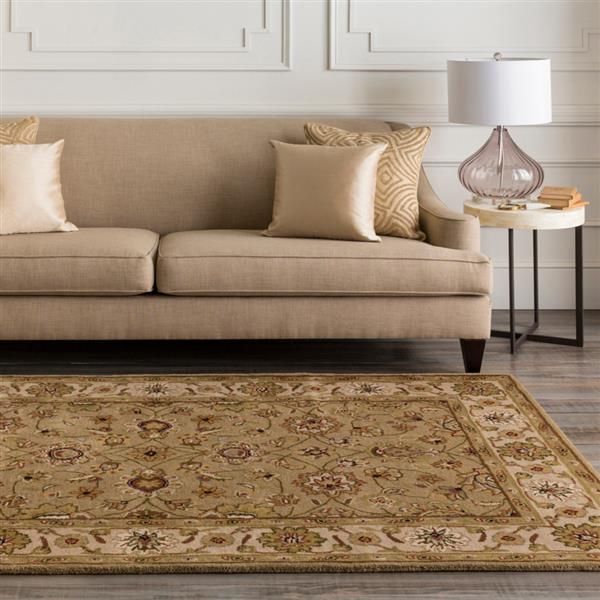 Surya Crowne Traditional Area Rug - 8-ft - Round - Taupe