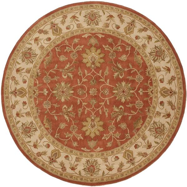 Surya Crowne Traditional Area Rug - 8-ft - Round - Rust