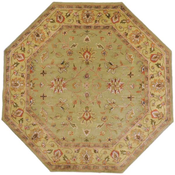 Surya Crowne Traditional Area Rug - 8-ft x 8-ft - Octagonal - Olive