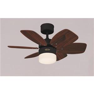 Ventillateur de plafond Flora Royal de Westinghouse Lighting Canada, 1 lumière, 6 pales, bronze huilé