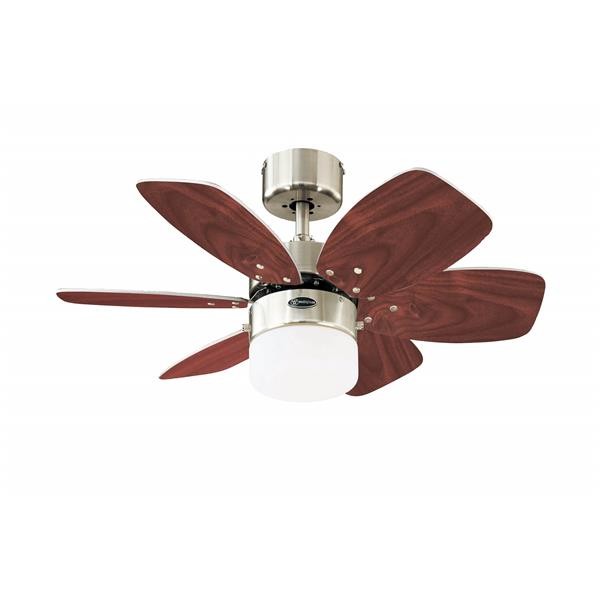 Westinghouse Lighting Canada Floral Royal Ceiling Fan - 1-Light - 6-Blade - Brushed Nickel and Plywood