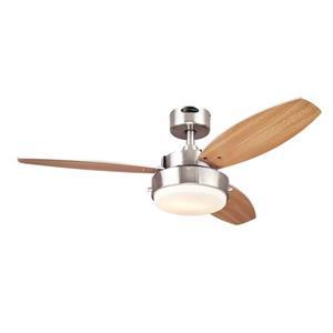 Ventillateur de plafond Alloy de Westinghouse Lighting Canada, lumière DEL, 3 pales, nickel brossé