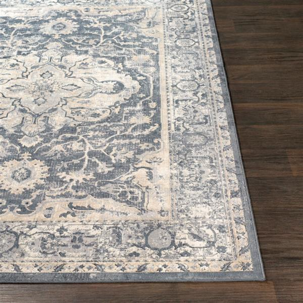 Surya Durham Updated Traditional Area Rug - 5-ft 3-in x 7-ft 3-in - Rectangular - Charcoal