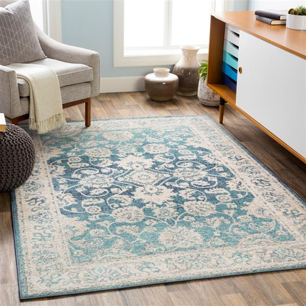 Surya City light Updated Traditional Area Rug - 6-ft 7-in x 9-ft - Rectangular - Aqua