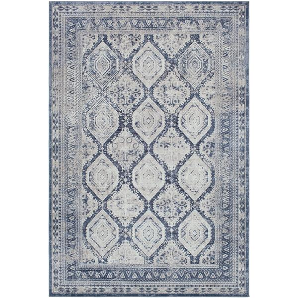 Surya Durham Updated Traditional Area Rug - 6-ft 7-in x 9-ft 6-in - Rectangular - Dark Blue