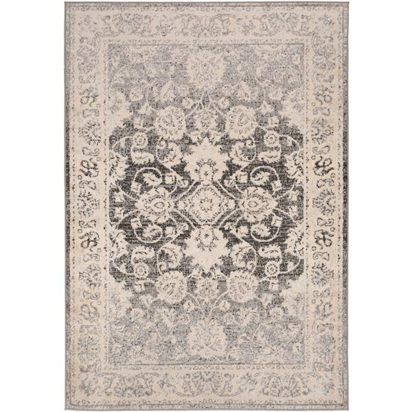 Surya City light Updated Traditional Area Rug - 6-ft 7-in x 9-ft - Rectangular - Charcoal