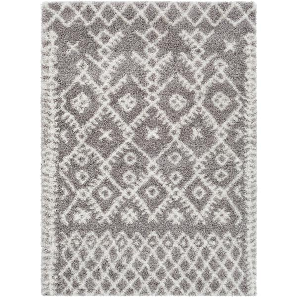 Surya Cloudy Shag Bohemian Area Rug - 6-ft 7-in x 9-ft 6-in - Rectangular - Taupe