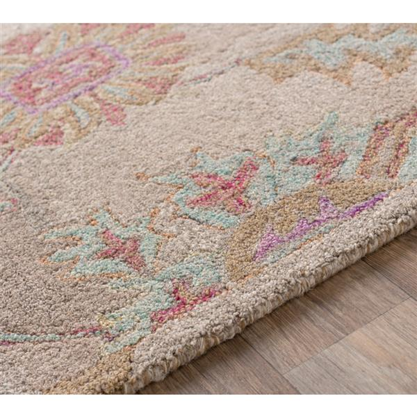Surya Classic Nouveau Updated Traditional Area Rug - 5-ft x 7-ft 6-in - Rectangular - Khaki/Purple