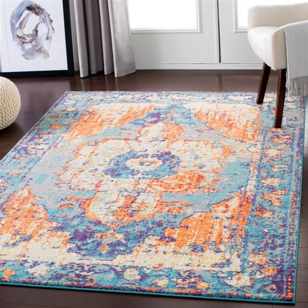 Surya Chelsea Updated Traditional Area Rug - 5-ft 3-in x 7-ft 3-in - Rectangular - Orange/Blue