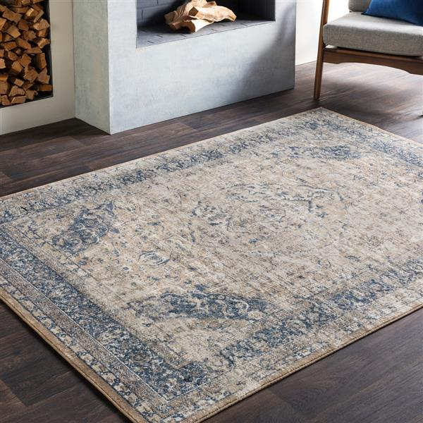Surya Durham Updated Traditional Area Rug - 6-ft 7-in x 9-ft 6-in - Rectangular - Camel