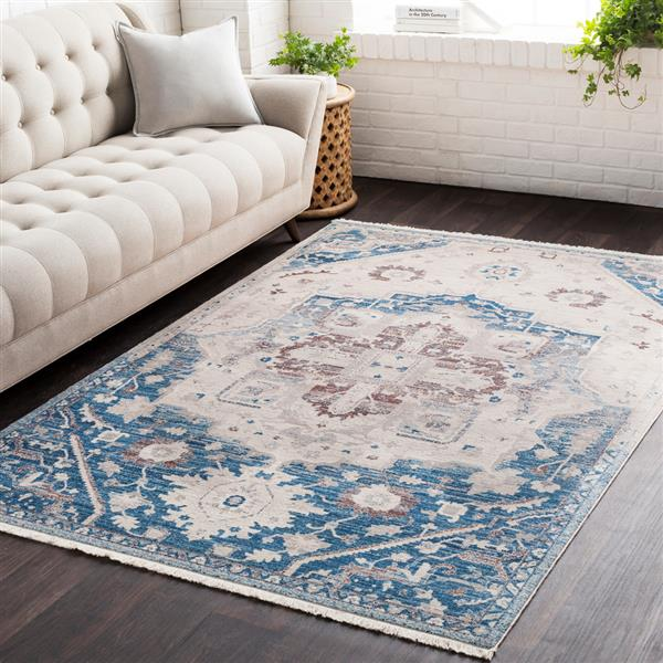 Surya Ephesians Updated Traditional Area Rug - 3-ft 11-in x 5-ft 3-in - Rectangular - Sky Blue/Beige