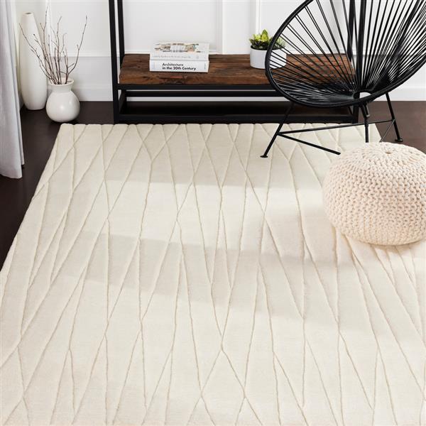 Surya Etching Solid Area Rug - 8-ft x 11-ft - Rectangular - Cream