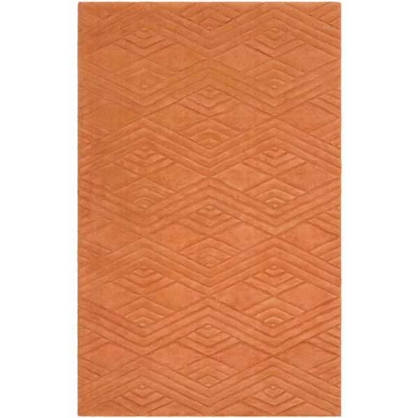 Surya Etching Solid Area Rug - 5-ft x 8-ft - Rectangular - Orange