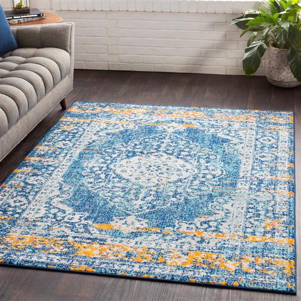 Surya Elaziz Updated Traditional Area Rug - 5-ft 3-in x 7-ft 6-in - Rectangular - Aqua