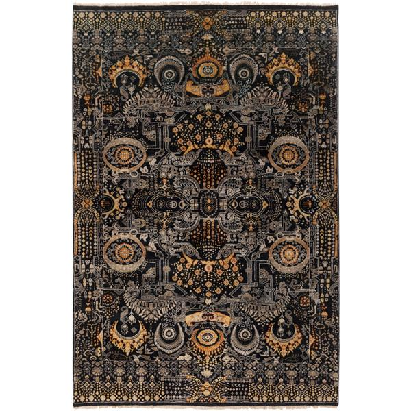 Surya Empress Traditional Area Rug - 2-ft x 3-ft - Rectangular - Black