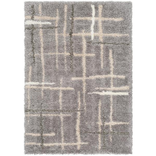 Surya Fanfare Shag Area Rug - 8-ft x 10-ft - Rectangular - Gray