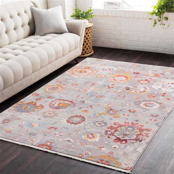 Surya Ephesians Updated Traditional Area Rug - 3-ft 11-in x 5-ft 3-in - Rectangular - Silver