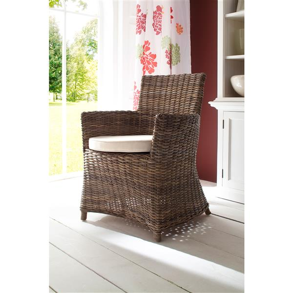 NovaSolo Wickerworks Bishop Dining Chair with Cushion - Set of 2
