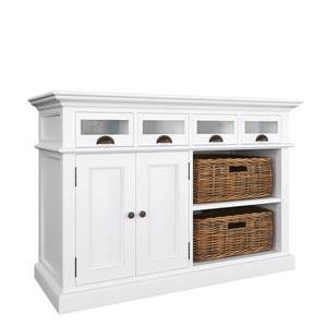 NovaSolo Halifax Kitchen Buffet with 2 baskets - White