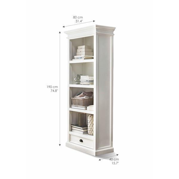 NovaSolo Halifax Bookcase with Drawer - White