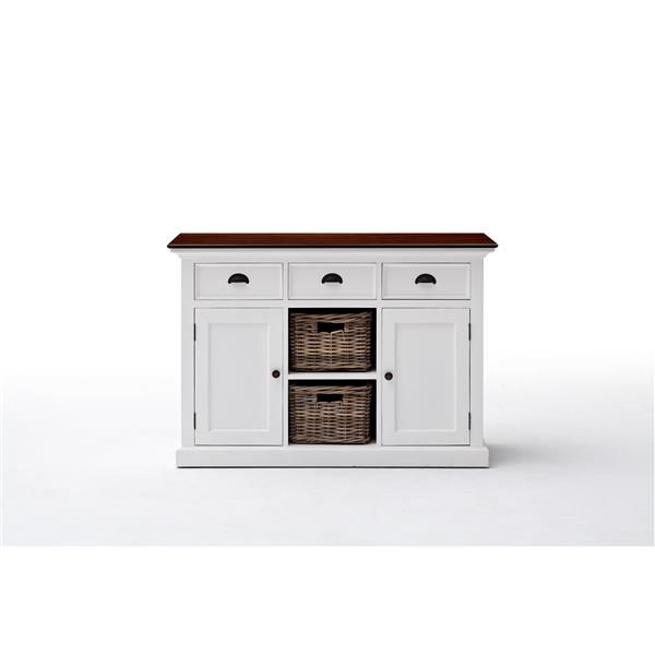 NovaSolo Halifax Accent Buffet with 2 Baskets - White/Mahogany