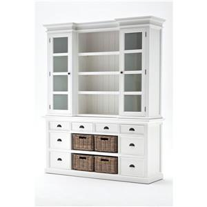 NovaSolo Halifax Library Hutch with Basket Set - White