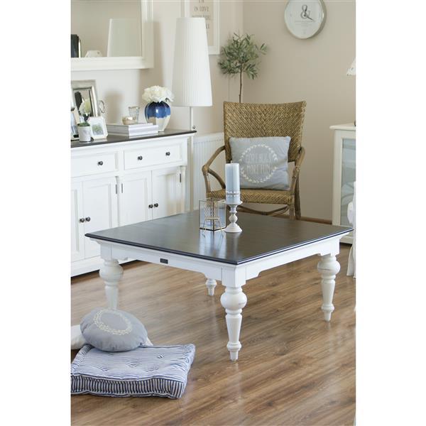 NovaSolo Provence Accent Square Coffee Table - 40-in x 40-in - White/Mahogany