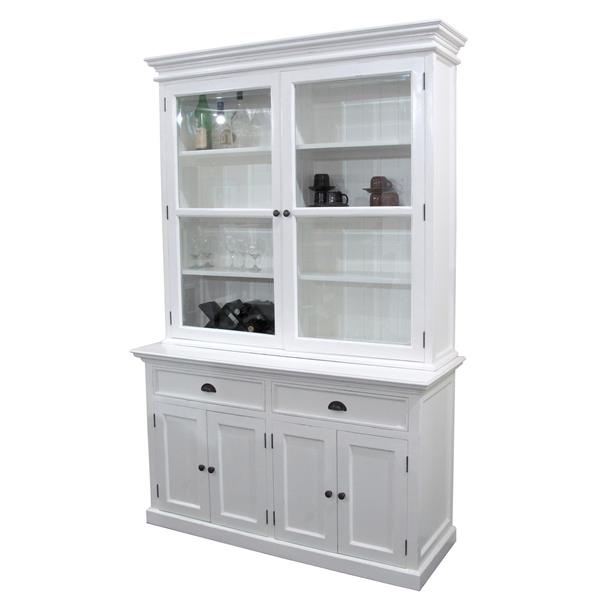 NovaSolo Halifax Glass-Display Hutch Unit - White