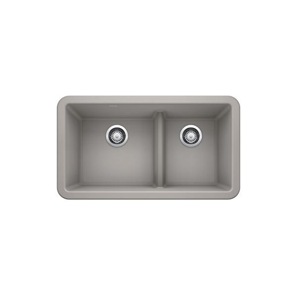 Blanco Ikon Double Bowl Farmhouse Sink - 33-in - Concrete Grey