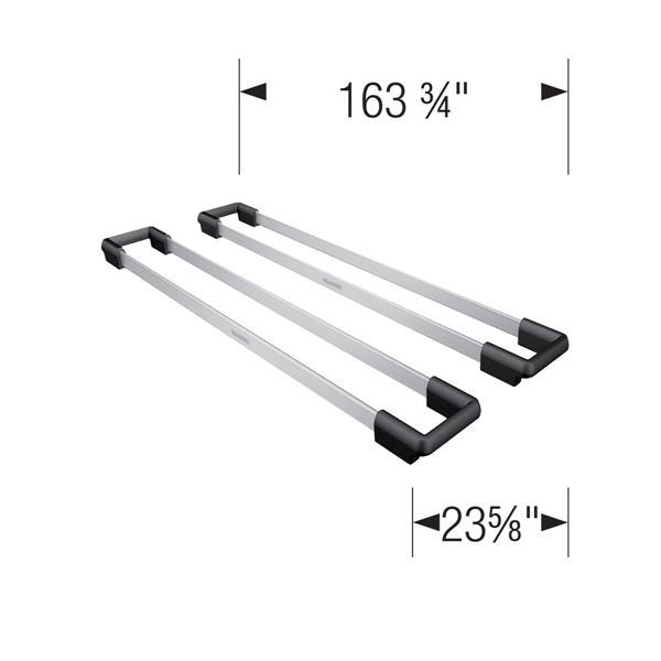 Rails pour évier, ensemble de 2, acier inoxydable