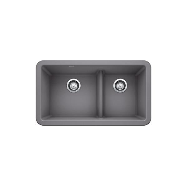 Blanco Ikon Double Bowl Farmhouse Sink - 33-in - Metallic Grey
