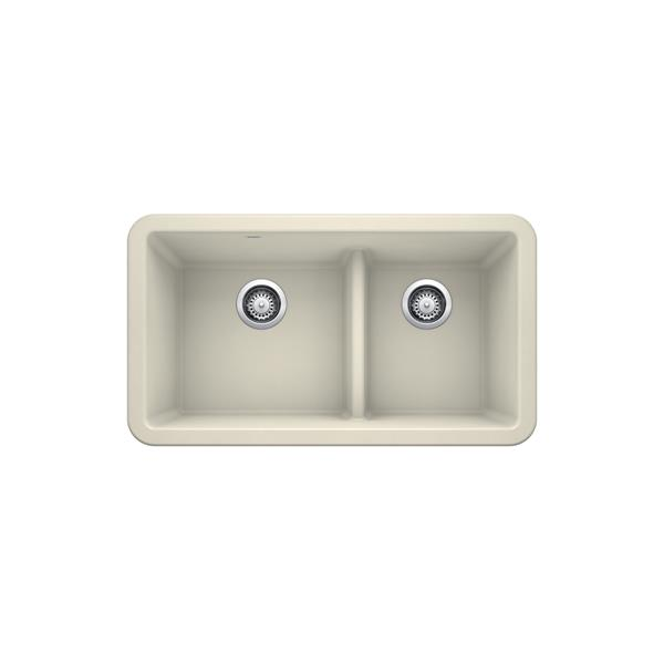 Blanco Ikon Double Bowl Farmhouse Sink - 33-in - Biscuit