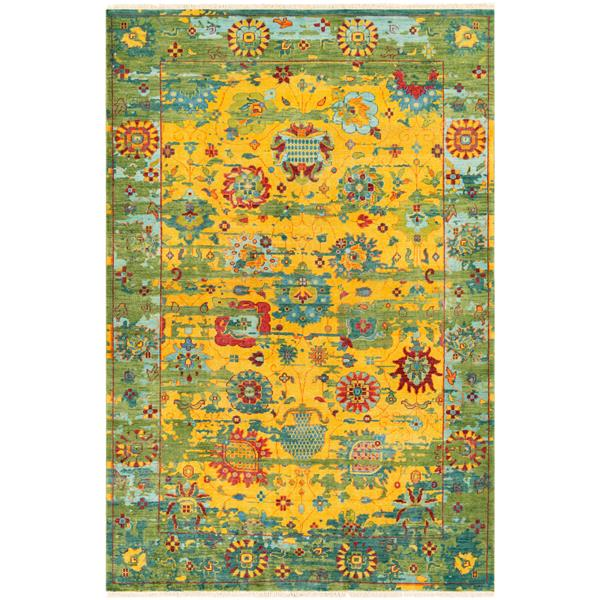 Surya Festival Updated Traditional Area Rug - 2-ft x 3-ft - Rectangular - Bright Yellow