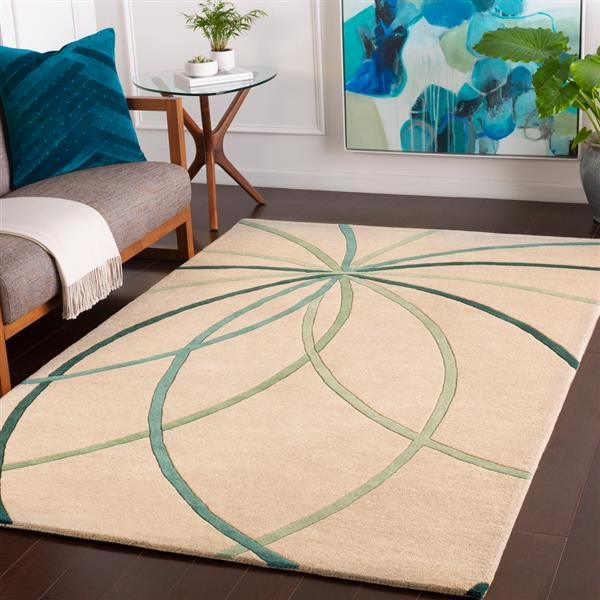 Surya Forum Modern Area Rug - 9-ft x 12-ft - Rectangular - Teal