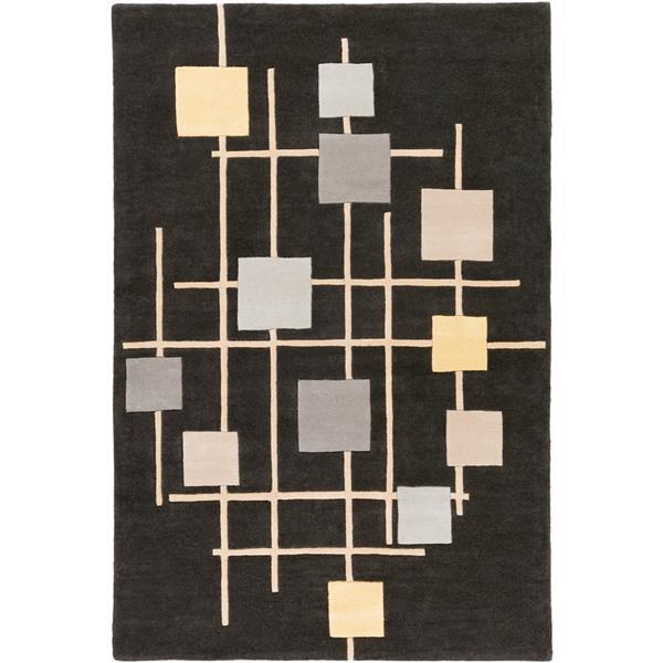 Surya Forum Modern Area Rug - 6-ft x 9-ft - Rectangular - Black