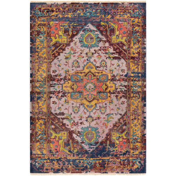 Surya Festival Updated Traditional Area Rug - 6-ft x 9-ft - Rectangular - Purple