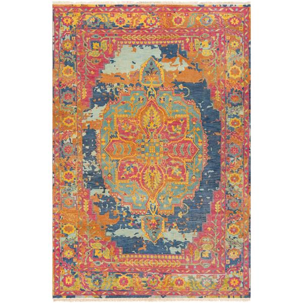 Surya Festival Updated Traditional Area Rug - 8-ft x 11-ft - Rectangular - Bright Pink
