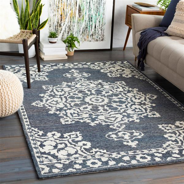 Surya Granada Traditional Area Rug - 8-ft x 10-ft - Rectangular - Charcoal