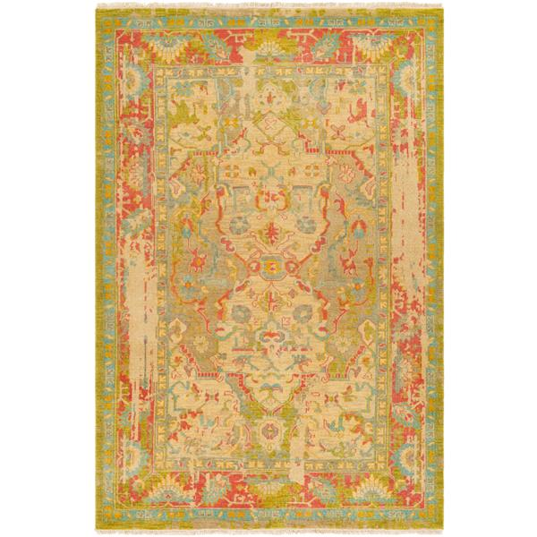 Surya Festival Updated Traditional Area Rug - 2-ft x 3-ft - Rectangular - Lime