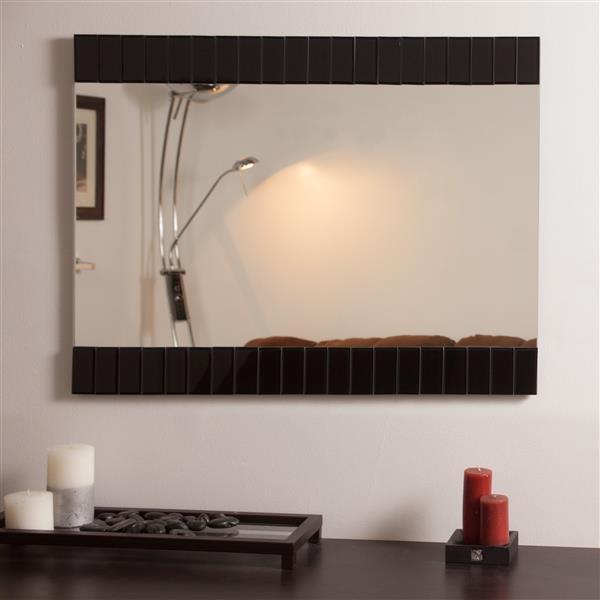 Decor Wonderland Beveled Bathroom Mirror - 31.5-in x 23.6-in - Black