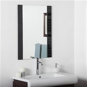 Miroir pour salle de bain biseauté de Décor Wonderland, 31,5 po x 23,6 po, noir