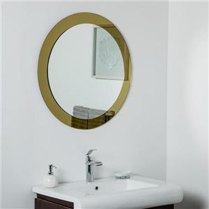 Decor Wonderland Golden Sol Round Frameless Mirror - 30in