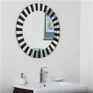 Decor Wonderland Tiara Modern Round Bathroom Mirror - Black