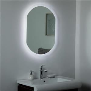 Miroir de salle de bain à DEL  Luka de Décor Wonderland, 31,5 po x 23,6 po