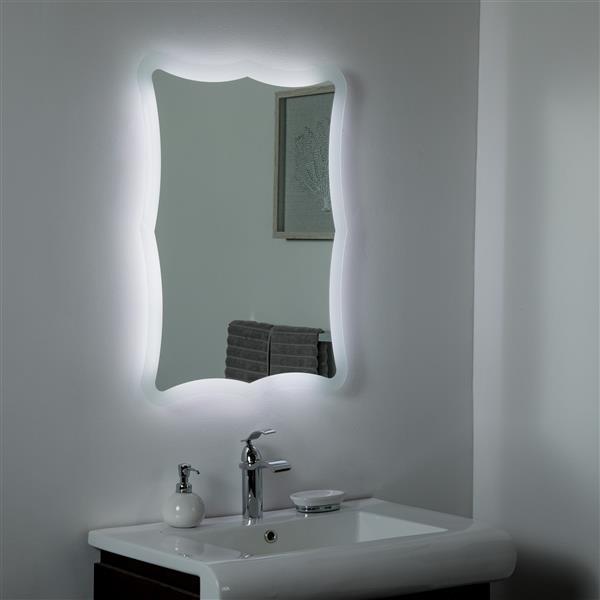 Miroir de salle de bain à DEL Nikita de Décor Wonderland, 31,5 po x 23,6 po