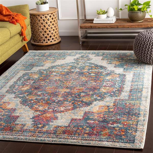 Surya Herati Updated Traditional Area Rug - 3-ft 11-in x 5-ft 11 in - Rectangular - Aqua