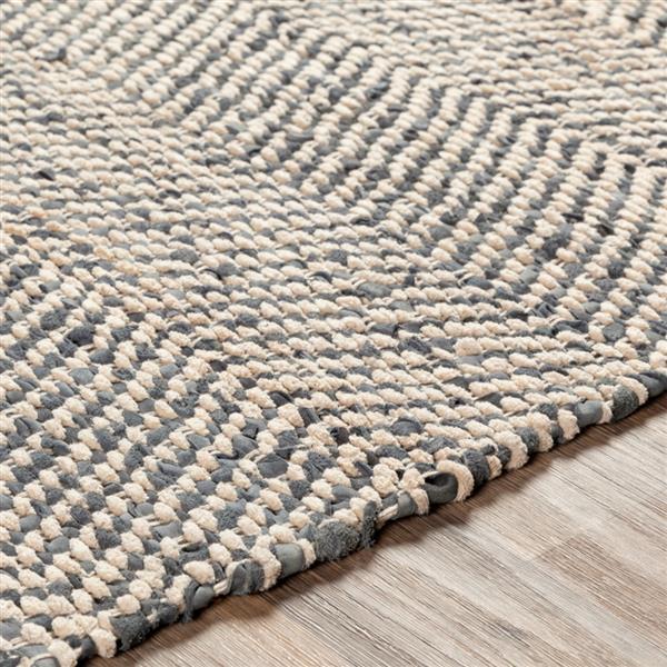 Surya Giovanni Hide, Leather & Fur Area Rug - 8-ft x 10-ft - Rectangular - Charcoal